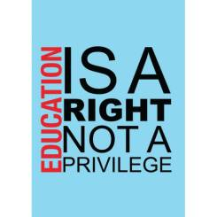 education-is-a-right-not-a-privilege-blue-unisex-tee