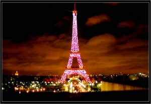 Eiffel Tower glowing red for China - Paris, France